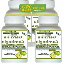 4 Pack PURE 100% Pure Garcinia Cambogia  95% HCA Weight Loss