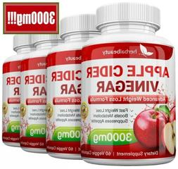 4 x Herbal Beauty APPLE CIDER VINEGAR Pills 3000mg WEIGHT LO