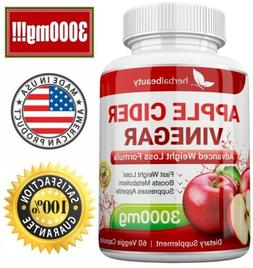 6 x Herbal Beauty APPLE CIDER VINEGAR Pills 3000mg WEIGHT LO